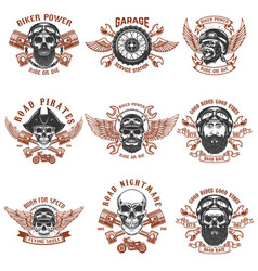 Set of biker emblems racer skull with crossed vector