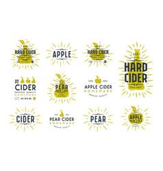 set of hard cider label and logo vector image