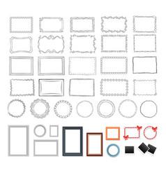 Set of round rectangular black and colour frames vector