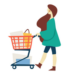 Shopping woman with supermarket cart or trolley vector