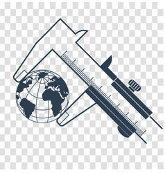 Silhouette calipers measuring the earth vector