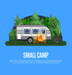 Small camp poster with travel trailer vector