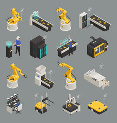 Smart industry isometric icons set vector
