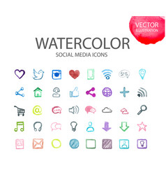 social media symbols watercolor ico vector image