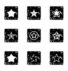 Star icons set grunge style vector