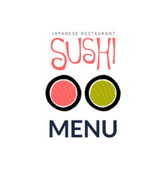 sushi logo fish food japan restaurant japanese vector image