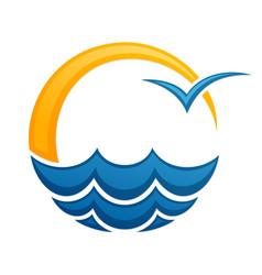 Symbol bright summer sun with sea vector