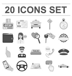 taxi service monochrome icons in set collection vector image