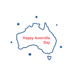 Thin line happy australia day vector