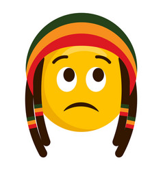 Thinking emoji with a reggae hat vector