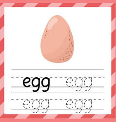 Tracing worksheet with word - egg learning vector
