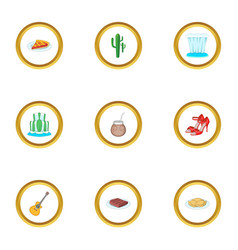 typical argentina icons set cartoon style vector image