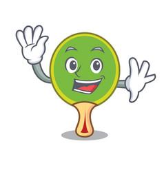 Waving ping pong racket character cartoon vector