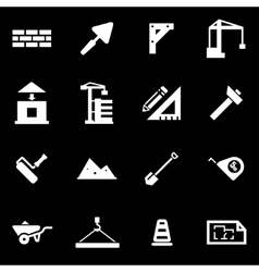 White construction icon set vector