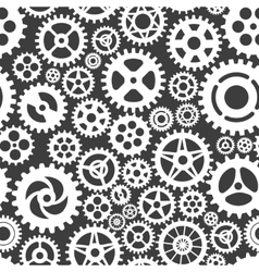 White gears on grey seamless patern vector image