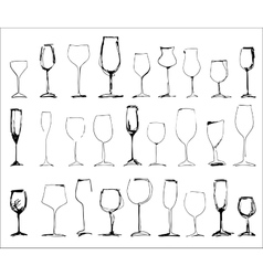 Wine glass set - collection of sketched vector