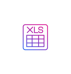 xls document line icon on white vector image