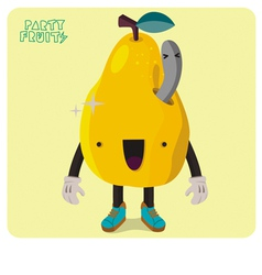 Yellow Pear Character Isolated vector image