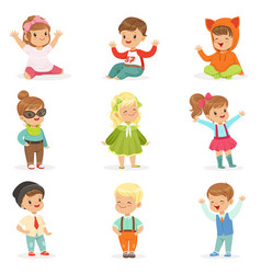 Young children dressed in cute kids fashion vector
