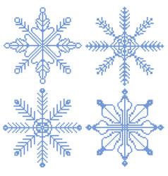 4 cross stitch snowflakes vector image