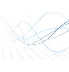 Blue swoosh waves perspective background vector image