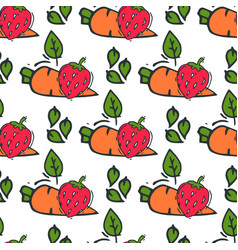 carrot seamless pattern background hand drawn vector image