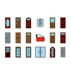 door icon set flat style vector image