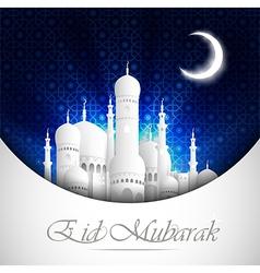 Eid Mubarak background with mosque view night vector image vector image