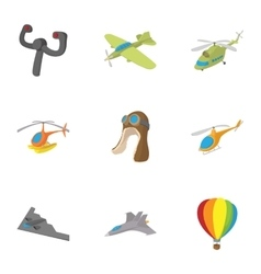 Flying device icons set cartoon style vector image vector image