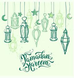 ramadan kareem calligraphy lettering arabic lamps vector image