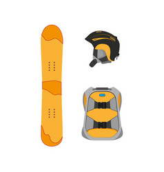 Snowboarding equipment set flat isolated vector