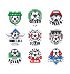 soccer league or tournament logo templates set vector image