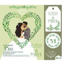 wedding invitationgreen branches heart kissing vector image