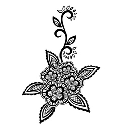 Black-and-white flowers and leaves design element vector image vector image