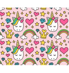 cute unicorn princess concept girl beauty vector image vector image