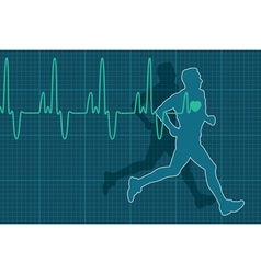 electrocardiogram and running man vector image