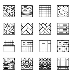 Floor material line icons vector image