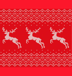 knit christmas design with deers and ornament vector image
