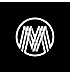 M capital letter of three white stripes enclosed vector image vector image