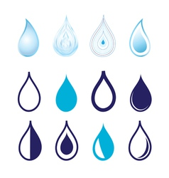 Set different graphics water drops vector image