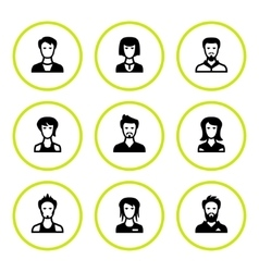 Set round icons of people vector image