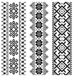Ukrainian Belarusian black embroidery seamless pa vector image