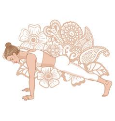 women silhouette high plank yoga pose uttihita vector image vector image