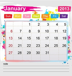 Calendar January 2013 vector image