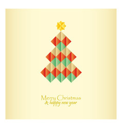 Christmas card with tree star and diamonds vector image vector image
