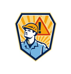 Contractor Construction Worker Caution Sign Retro vector image vector image