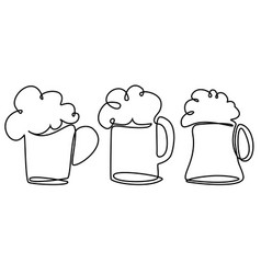 pint of beer one line drawing vector image vector image