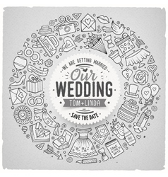 Set of wedding cartoon doodle objects round frame vector