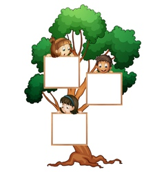 Tree sign with kids vector image vector image