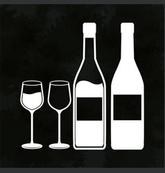 wine bottles and glassware image vector image